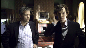 Rupert Graves as Greg Lestrade is looking skeptically at an ...