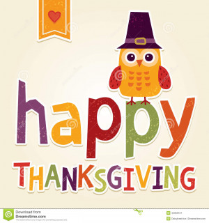 Thanksgiving Day card, poster or menu design with cute owl in Pilgrim ...
