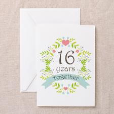 16th Anniversary flowers Greeting Cards (Pk of 10) for