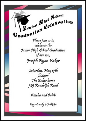 Junior High School Graduation Tassel and Cap Announcements Invitations