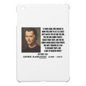 Machiavelli Prince Imitate Fox Lion Advice Quote Case For The iPad ...