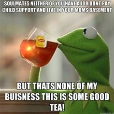 ... none of my buisness this is some good tea!   Snitching Kermit the Frog
