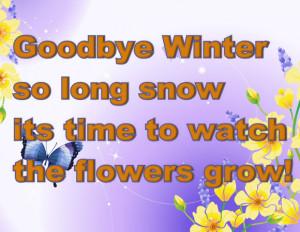 Goodbye Winter so long snow