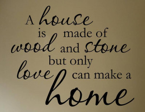 HOUSE IS MADE OF WOOD AND Vinyl wall quotes lettering On Wall Decal ...