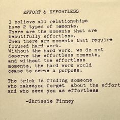 A relationship is what effort in What Does