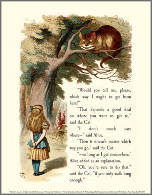 ... tell me please which way i ought to go from here alice in wonderland