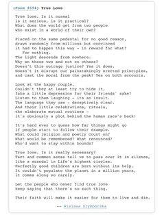 Wislawa Szymborska First Love