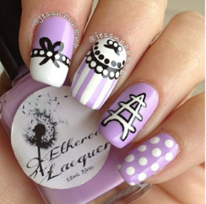 cute, girl, girly, nail polish, nails, pretty, purple, white