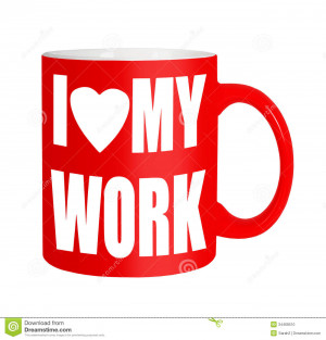 Stock Photo: Happy workers,employees, staff - red mug isolated over ...
