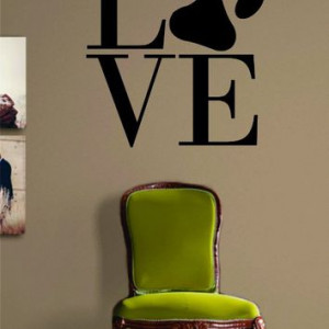 Love Dog Paw Print LARGE Quote Decal Sticker Wall Vinyl Art Animal ...