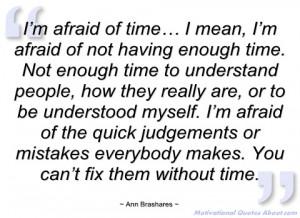 afraid of time… i mean ann brashares