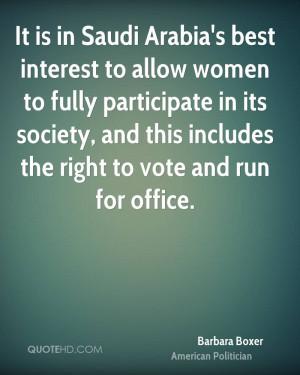 It is in Saudi Arabia's best interest to allow women to fully ...