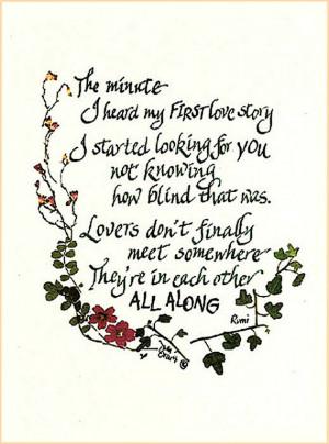 Romantic love poem, Rumi, quote, wedding, Valentine's Day, engaged ...