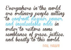 Social Justice Quote Paul Hawkin Confront despair, power and ...