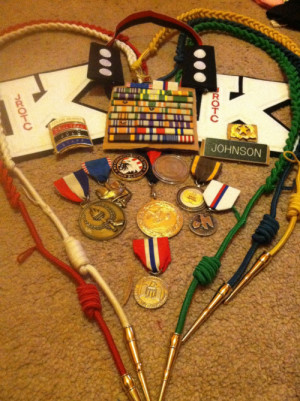 Went through my things. My awards from 4 years in Army JROTC.