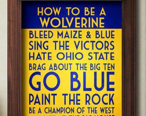 ... Michigan Football Decor, Michigan Art, Michigan Print, Michigan Quote