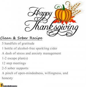 How to stay clean and sober this Thanksgiving. Click here for a recipe ...