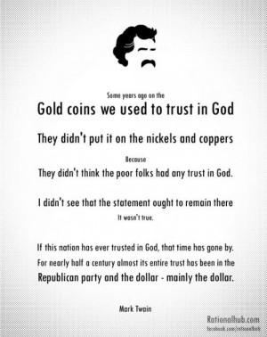 Mark twain, quotes, sayings, gold, money, trust, god