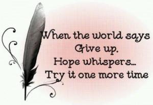 Keep the faith...try again
