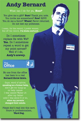 Andy Bernard Quotes The Office TV Poster