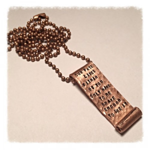 Disney / Pixar Brave inspired quote, copper scroll necklace