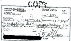 Harold Hamm Divorce Settlement Check