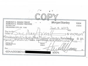 ... Harold Hamm to ex-wife Sue Ann Arnall in the amount of $974.8 million