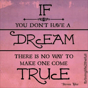 If you don't have a dream, there is no way to make one come true ...