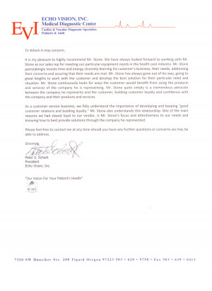 Letter of Recommendation Sales Rep