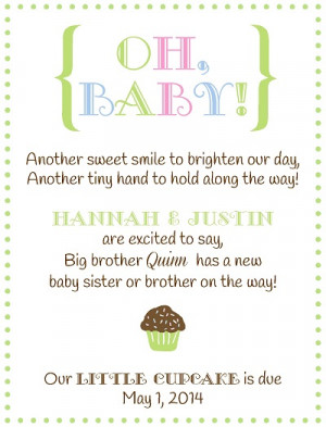 Pregnancy Announcement Poems Sibling pregnancy announcement