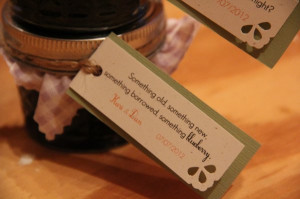 Wedding guest favors - jam with punny sayings on the tag