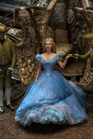 Lily James wears the ball gown in a still from the 2015 live action ...