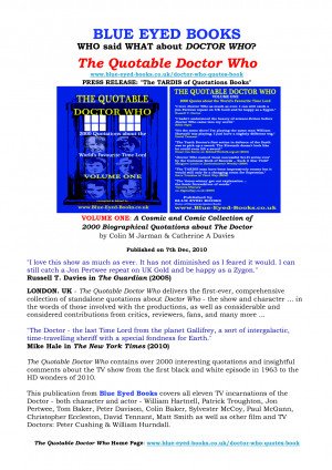 ... Doctor Who - A Dr Who Quotes Book - Press Release by ColinMJarman