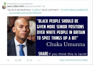 ... Collins circulated this quote - which Labour's Chuka Umunna never said