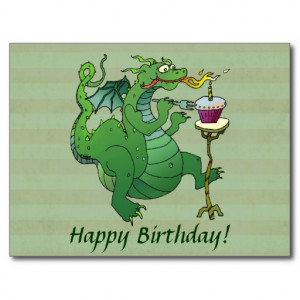 Funny Dragon Blowing Birthday Candles Postcards