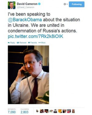 The British Prime Minister David Cameron has tweeted a picture of ...