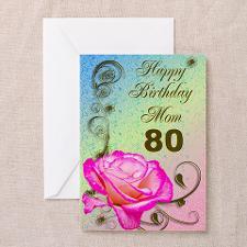 80th birthday card for mom, Elegant rose Greeting for