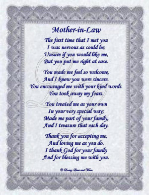 special mother in law poems