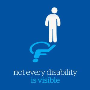 Grafik in blau mit Rollstuhl-Symbol aus dem ein weißes ...