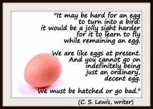 harder for it to learn to fly while remaining an egg. We are like eggs ...