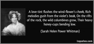 love-tint flushes the wind-flower's cheek, Rich melodies gush from ...