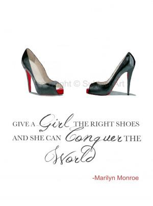 ... CHRISTIAN LOUBOUTIN Black Shoes ART PRINT, Marilyn Monroe Quote 10 x 8