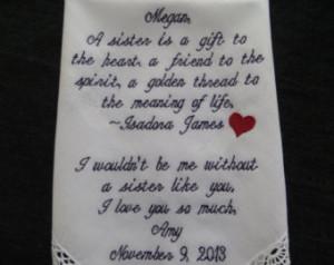 Sister Gift Wedding Handkerchief .Lacy White Wedding Handkerchief ...