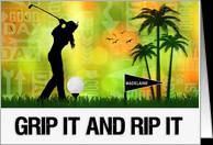 Custom Good Luck for Female Golfer - Golf Sports Theme card - Product ...
