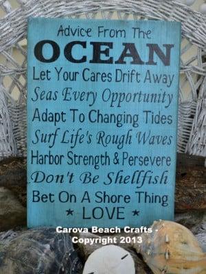 Advice Ocean - Beach Wedding, Coastal Wedding, Beach Decor Wood Sign ...