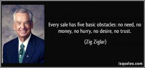 ... : no need, no money, no hurry, no desire, no trust. - Zig Ziglar
