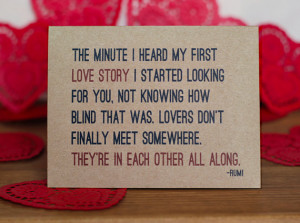 Lovers Valentine Card - Rumi Quote Valentine's Day Card and ...