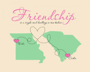 Quote, Gift for Best Friend - 8x10 Art Print of Maps - Long Distance ...