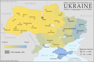 in Ukraine by region (oblast), showing gradation between Ukrainian ...