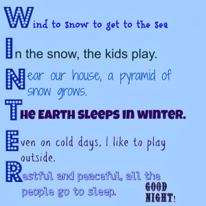 Ds acrostic poem Winter Acrostic Poems